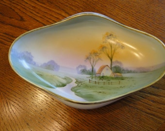 Handpainted Morimura Bros. Nippon Oblong Dish, Antique Noritake Dish, Collectible Handpainted dish with Rural Cottage Farm near Stream