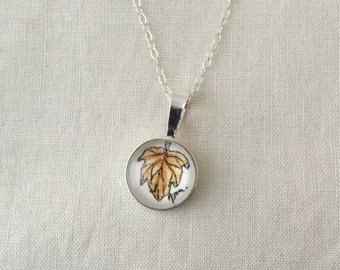Autumn Leaf  - Wearable Artwork Necklace - Original Watercolor Painting - One of a Kind - Sterling Silver