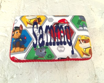 Personalized Paw Patrol Print Pencil Case.  Choose Your Color For The Name