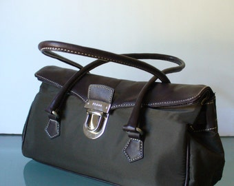 Made in Italy Prada Fabric & Leather Baguette Purse