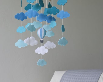 READY TO SHIP shades of blue cloud bank baby mobile-clouds mobile-hot air balloons clouds baby mobile-up in the sky-blues-up and up-blue