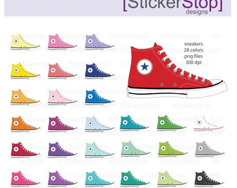 converse shoes clipart. athletic shoe rainbow clipart 28 colors, png digital - instant download basketball converse shoes