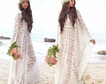Ivory Scallop FESTIVAL Hippie Boho Wedding Caftan Dress Sheer Crochet Lace Saldana Vintage