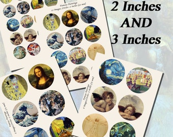 Famous Paintings and Artists Printables, EXTRA LARGE CIRCLES, 1.5 inch, 2 inch, and 3 inch circles (38mm, 50mm, and 75 mm)