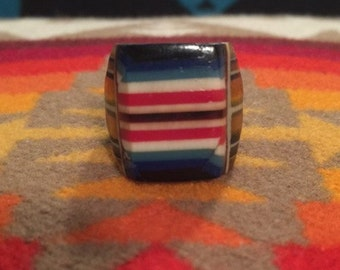 Vintage Celluloid Bakelite Folk Art Prison Ring by Bob Dodd (Size 7-1/2)