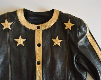 Escada Leather Jacket by Margaretha Ley Large Size Black with Gold Stars Statement Piece Designer