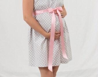 Gray polka dot maternity hospital delivery nursing breastfeeding gown, dress