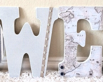 Boy Nursery Letters, Nautical Nursery, Hanging Letters, Personalized Wall Hanging Letters, Map -The Rugged Pearl
