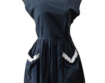 Vintage Black Handmade Dress w/ White Trim