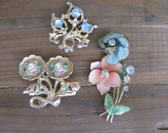 Lot of 3 Vintage Gold, Gemstone and Diamond Floral Brooches