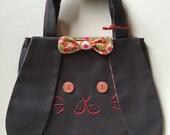 Handmade canvas cotton Bunny bag - charcoal gray