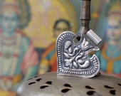 Tribal Silver folk heart fan pendant Indian gypsy necklace piece with peacock stamp work 925