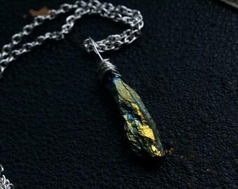 Mini green titanium aura crystal quartz necklace