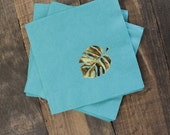 25 or 50 Tropical Monstera Leaf Cocktail/Beverage Napkins