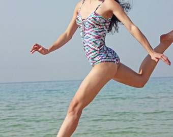 One piece  printed  Swimsuit , Swimwear , Beachwear , Bathing suit , one size will fit sizes from 38-42