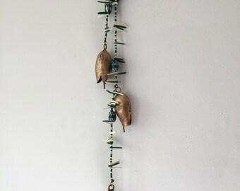 Bells on a String, Hanging Bells, Folk Art Chimes, Garden Chimes Bells, Decorated Bells, Metal Bells, Wood Bead, Green White Bells,