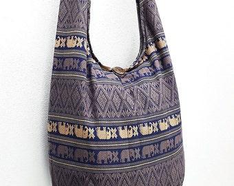 Women bag Handbags Cotton Elephant bag Hippie bag Hobo bag Boho bag Shoulder bag Sling bag Messenger Tote bag Crossbody bag Purse Navy Blue