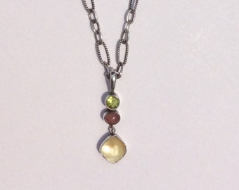 Classic Trilogy Gemstone Necklace, Sterling Silver with Sem- Precious Gemstones