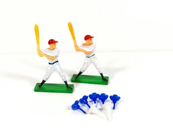 60s-70s Baseball Player Cake Toppers - 2 Vintage Baseball Cake Decorations and Candle Holders