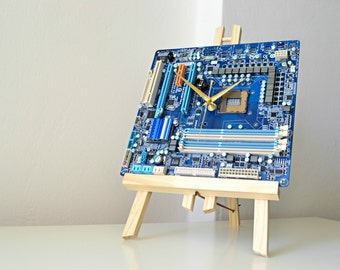 Desk Office Clock - Modern Circuit Board Geeky Desk Clock - IT Tech Gift Clock