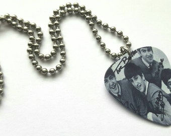 Black and White Beatles Guitar Pick Necklace with Stainless Steel Ball Chain - music - 1960s