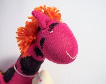Sock toy, sock giraffe.  Soft plush toy giraffe. Gilly Giraffe.
