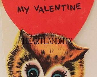 Vintage Valentine Card Download Art Graphic Image printable Owl