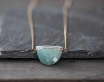 Amazonite Necklace, Wire Wrapped Half Moon Amazonite Pendant, Mint Green Gemstone Gold Necklace, Amazonite Jewelry, Layering Necklace