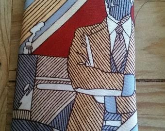 Vintage  80's GQMan Print Necktie by Gino Pompeii