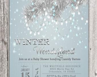 Winter Wonderland Tree Branch String Lights Invitation Invite Printable Digital