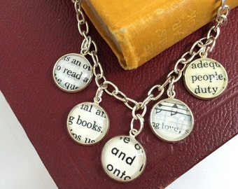 Read Books Love People Silver Charm Bracelet, Recycled Book Jewelry, Book Lover Gift, Librarian Gift, Gift for a Bookworm