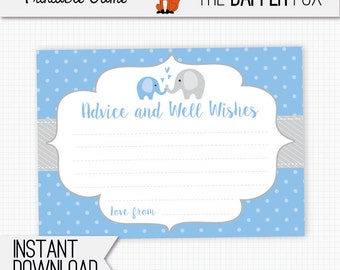 Baby Shower Advice Cards Blue Elephant - printable - Advice and wishes baby shower game Baby Boy Blue and Grey Cute Elephant