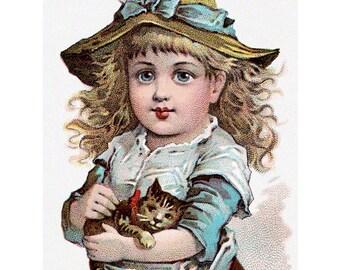 Kitten Girl Fabric Block | Cat Lovers Fabric | Farm Girl with Kitty | Vintage Style
