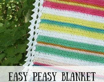 Crochet pattern baby blanket (PDF), crochet blanket pattern, easy crochet blanket, crochet blanket beginners, easy crochet