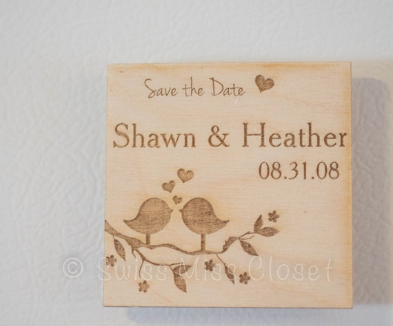 Set of 10 Wooden Save the Date Rustic Engraved Wood Love Birds