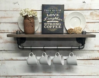 Industrial kitchen shelves, industrial shelf, industrial shelves, Rustic  kitchen shelves, Rustic shelf