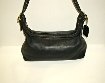 COACH Small Hobo Bag, Slim Zip Top Handbag, Vintage Black Leather Shoulder Purse, Style 9059 Made In USA