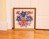 Gentian Jewels...  Vintage Framed Floral Needlepoint Picture - Gentian Flowers, Bright Blues and Pinks; Antique Gold Frame, Non-Glare Glass