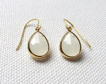 Gold and White Teardrop Modern Minimalist Earrings Minimal Bridal Jewelry Wedding Gift For Her Anniversary