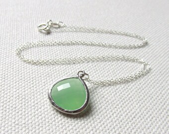 Mint Green Necklace, Sterling Silver Chain, Dainty Minimalist Jewelry, Simple Green Glass Necklace