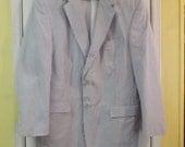 Mens Sports Coat Seersucker Size 43 Reg Blue and White Cotton Blazer Sport Coat Fashion