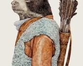 HUNTER Fine Art Print, Bear Illustration, Bear Poster, Boys Wall Art, Boys Room Print, Animal Print, Woodland Animals, Detailed Illustration