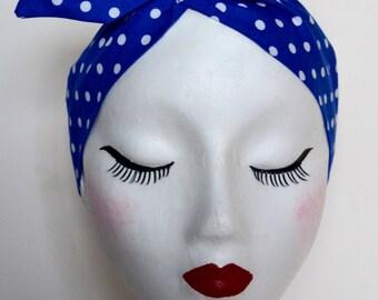 Rockabilly Pin Up Royal Blue & White Polkadot Dolly Bow Wire Headband
