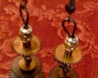 Victorian Steampunk gears and other clock parts chandelier dragonfly earrings