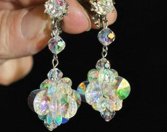 Vintage VENDOME Signed AB Swarovski Crystal Dangle Drop Earrings, Vendome Coro High-End Clip On AB Rivoli Wedding Bridal Earring Accessory