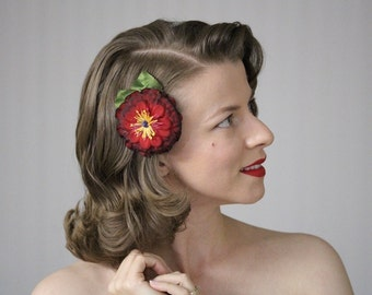 """Burgundy Hair Accessory, Red Flower Clip, Small Fascinator, Floral Headpiece, 1950s Christmas Hair Piece, Winter - """"As Seasons Change"""""""