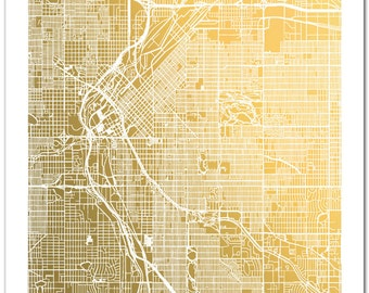 Denver Map, Gold Foil Map™, Denver Print, Gold Foil Print, Denver Street Map, Map Wall Art,  Map Art, Gold Decor, Map of Denver, Colorado