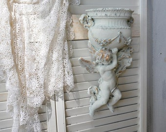 Pair Shabby Cottage Chic Angel Wall Decor Vintage Cherub Wall Accent, White Gold Putto Wall Hanging Distressed Antique Style Home Decor