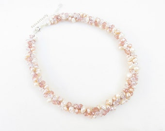 White peach freshwater pearl necklace with pink crystal on silk thread, wedding jewelry, short necklace