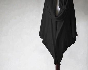 Women's cardigan, cashmere sweater, black sweater, wrap sweater, women's sweater, knit cape, open cardigan, cashmere poncho, knit jacket